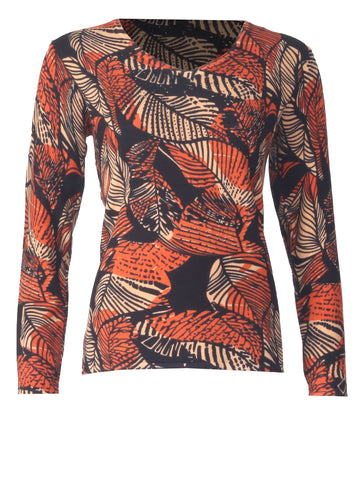 Leaf Printed Jumper - Pumpkin