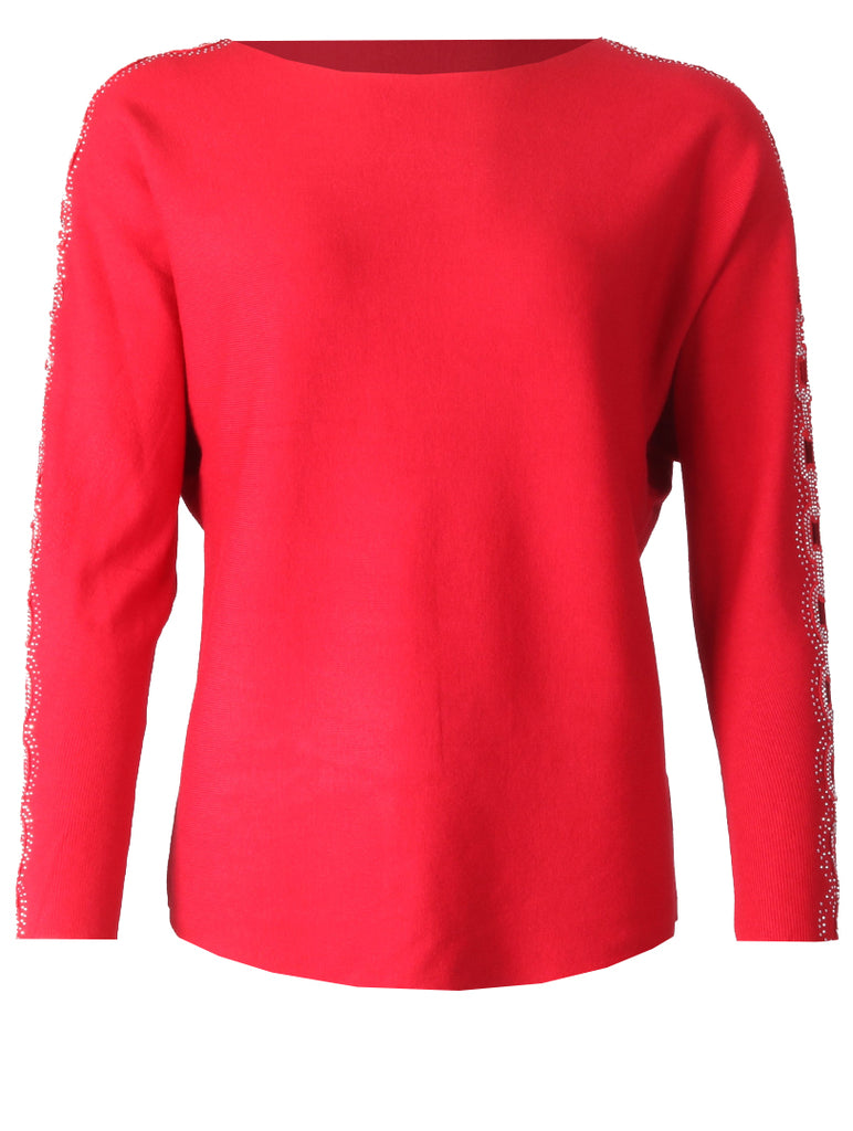 Detailed Slv Top - Red