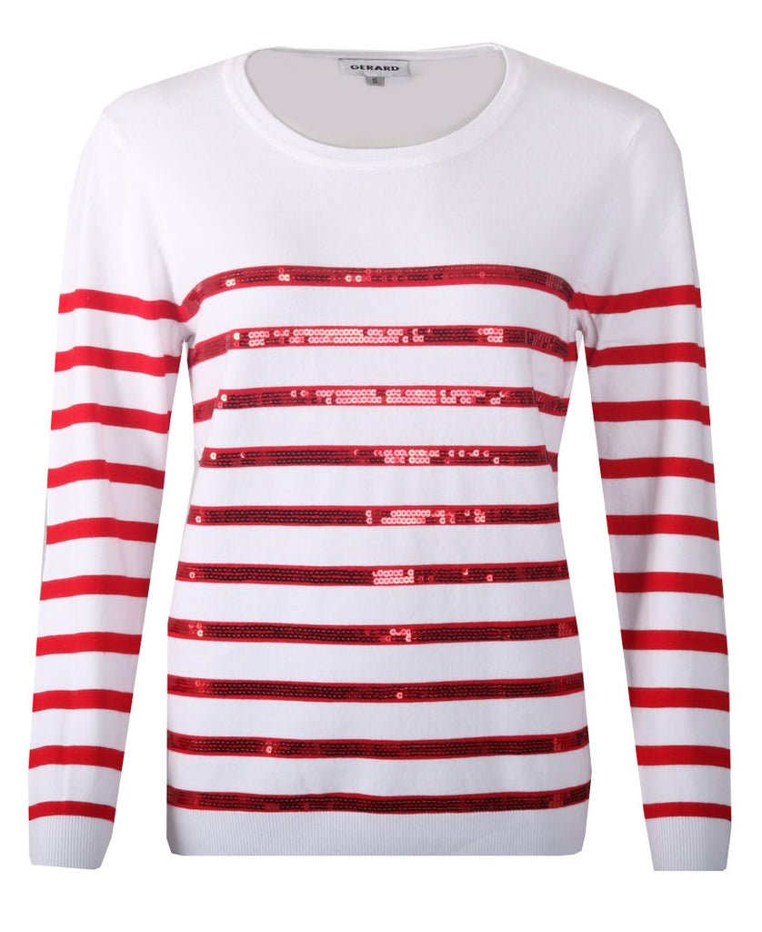Sequin Stripe Jumper - Red