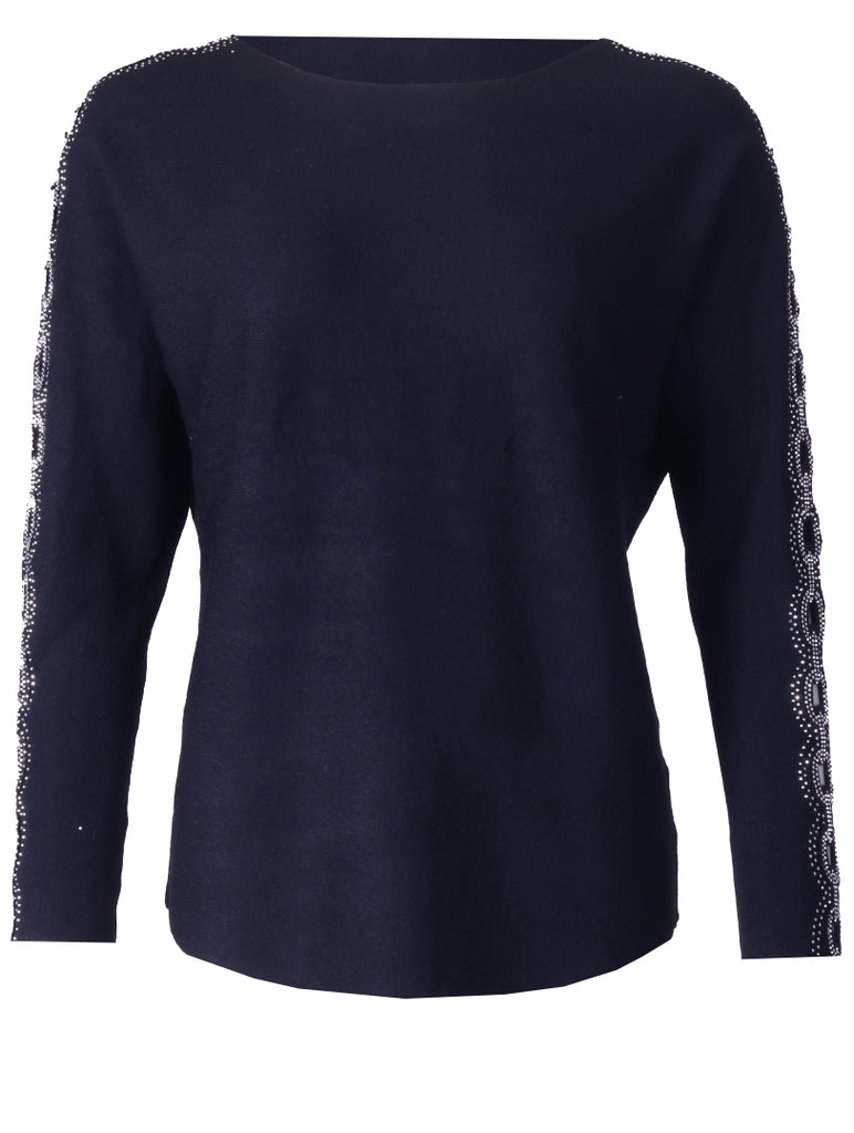 Detailed Slv Top - Navy