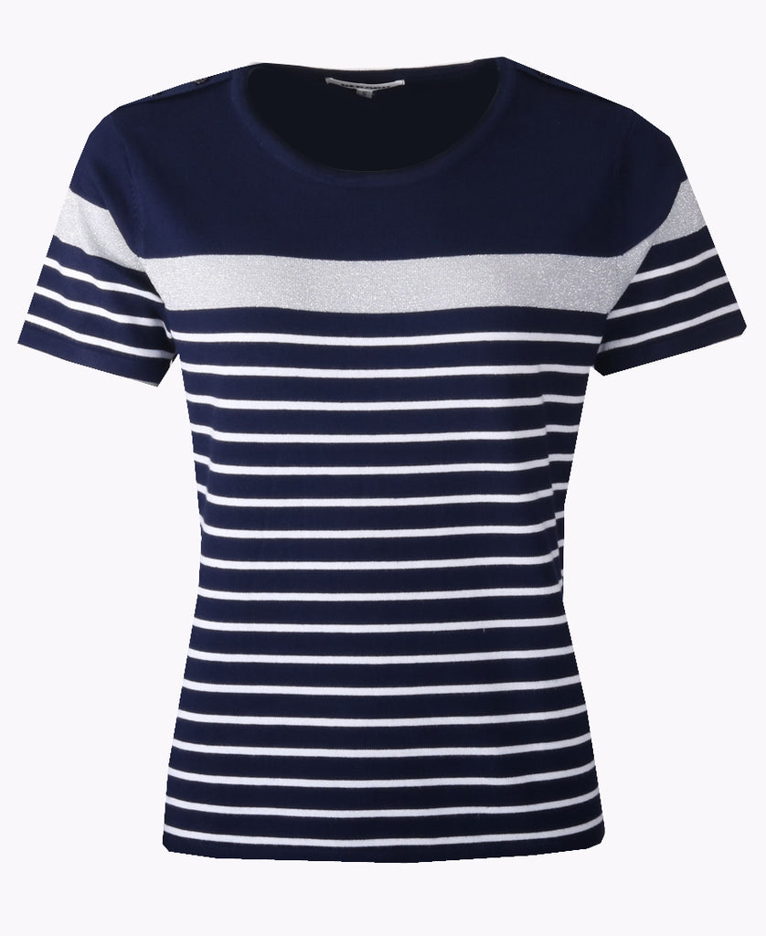 Stripe Top - Ivory/Navy