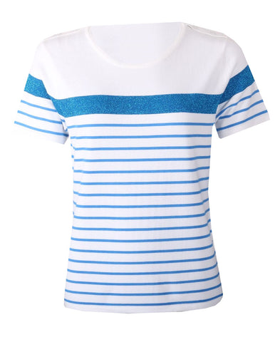 Stripe Top - Ivory/Blue
