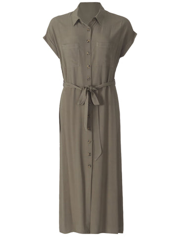 1/2 Sleeve Button Thru Dress - Olive