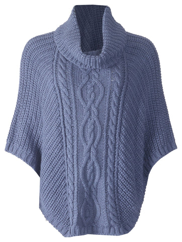 Cowl Neck Poncho - Denim