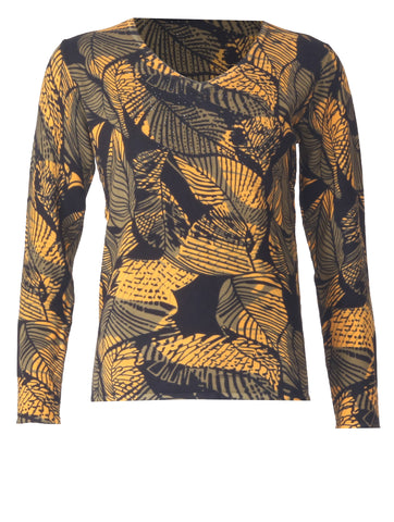 Leaf Printed Jumper - Mustard