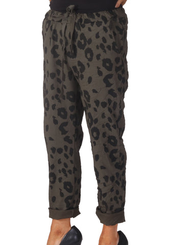 Magic Leopard Trousers - Khaki