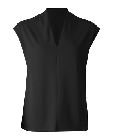 Sleeveless V Neck Top - Black
