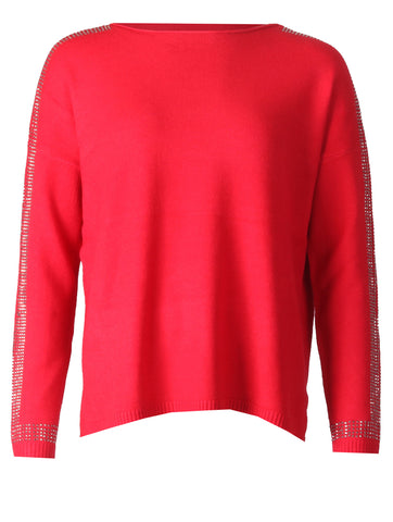 Detailed Sleeve Top - Red