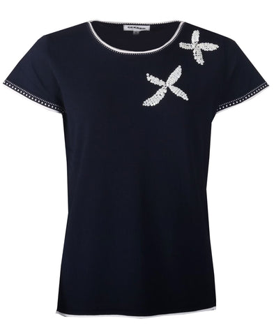 Sequin Flower Jumper - Navy