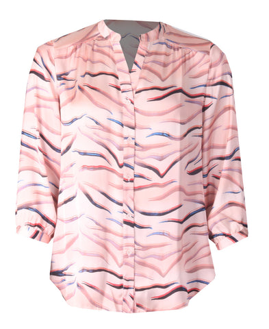 Open Collar Blouse - Pink