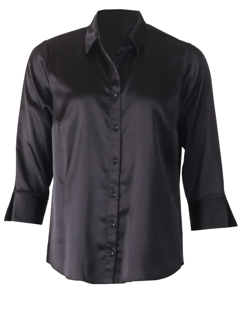 Luxury Satin Blouse - Black