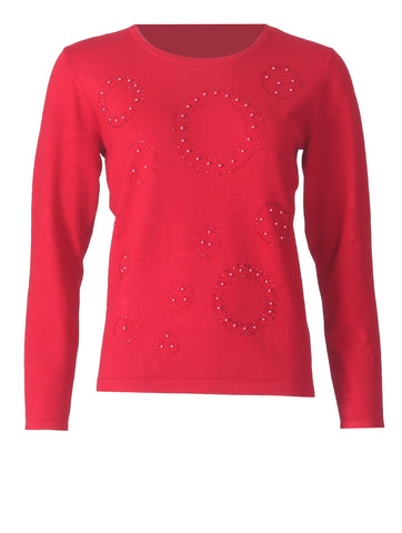 Embellished Jumper - Red