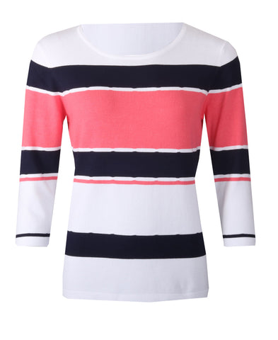 Striped Jumper - White/Coral