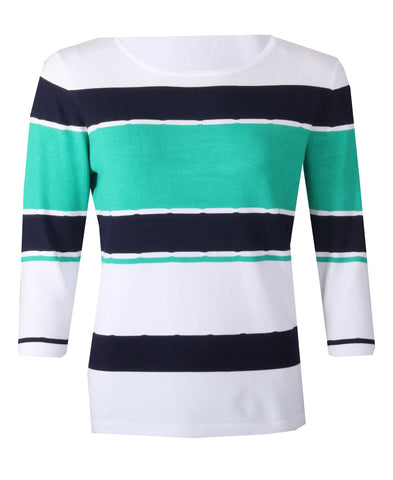 Striped Jumper - White/Jade