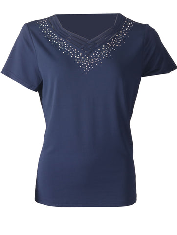Detailed Top - Navy