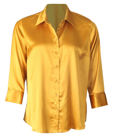Luxury Satin Blouse - Mustard