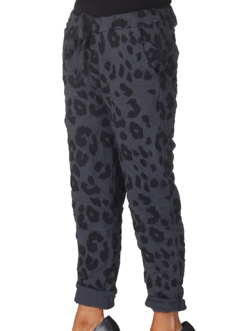 Magic Leopard Trousers - Dark Grey
