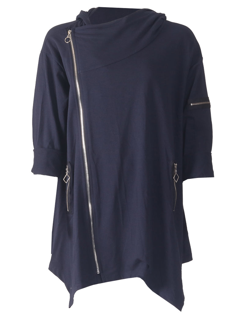 Hooded Zip Jacket - Navy