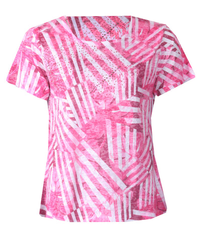 Stripe Burnt Top - Pink