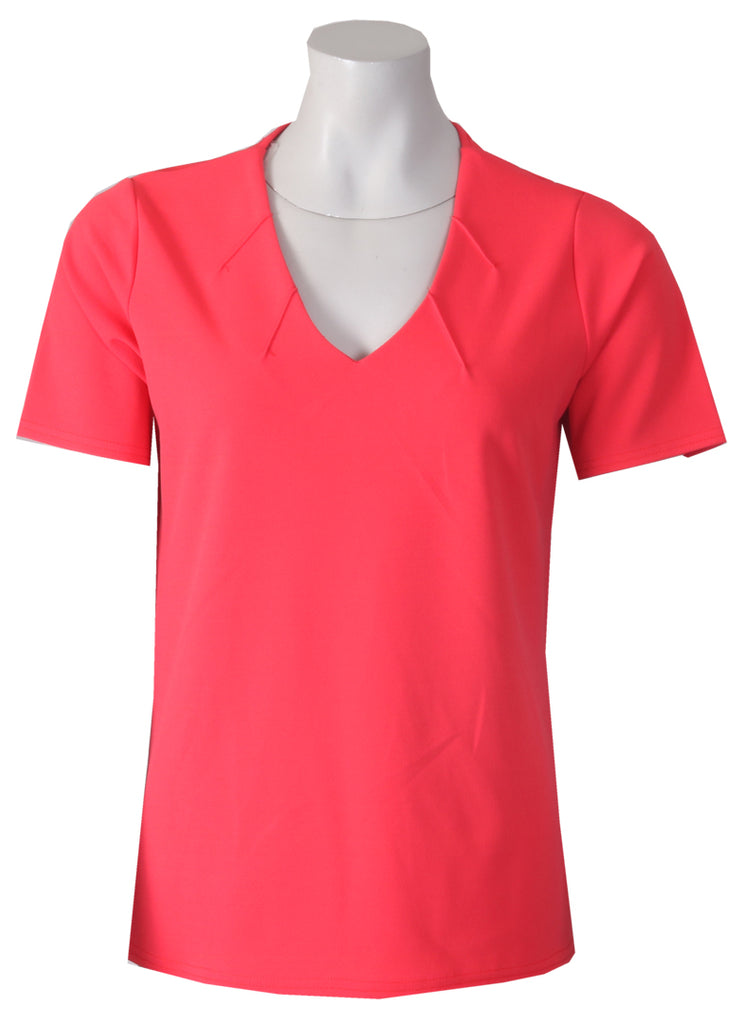 V Neck Top With Stitch - Red