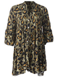 Leopard Smock Dress - Khaki