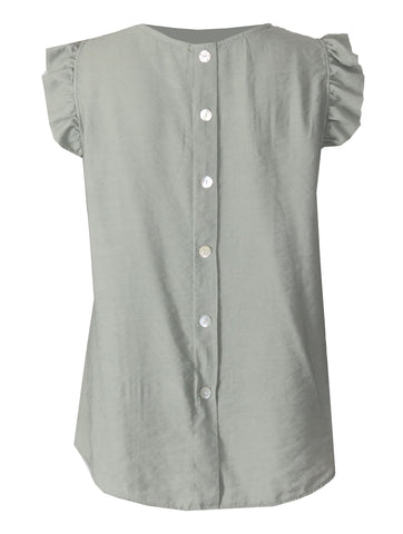Button Back Top - Khaki