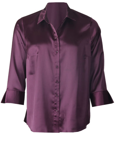 Luxury Satin Blouse - Plum