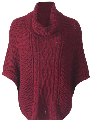 Cowl Neck Poncho - Burgundy