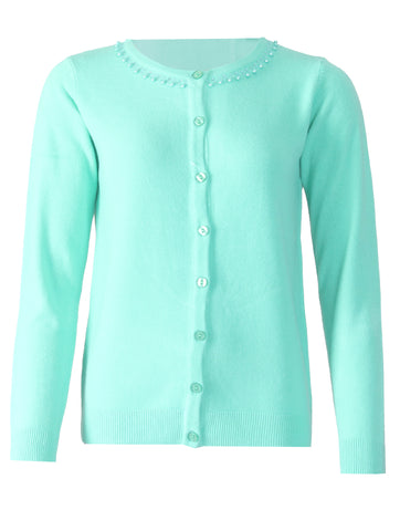 Beaded Cardigan - Fresh Mint