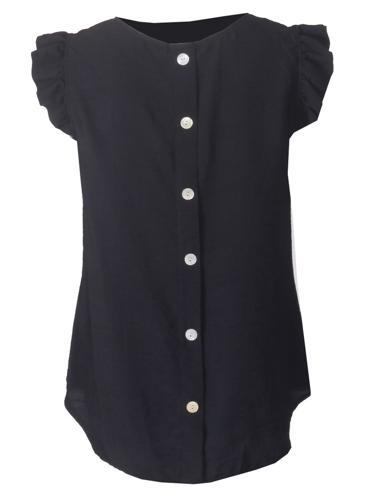Button Back Top - Black
