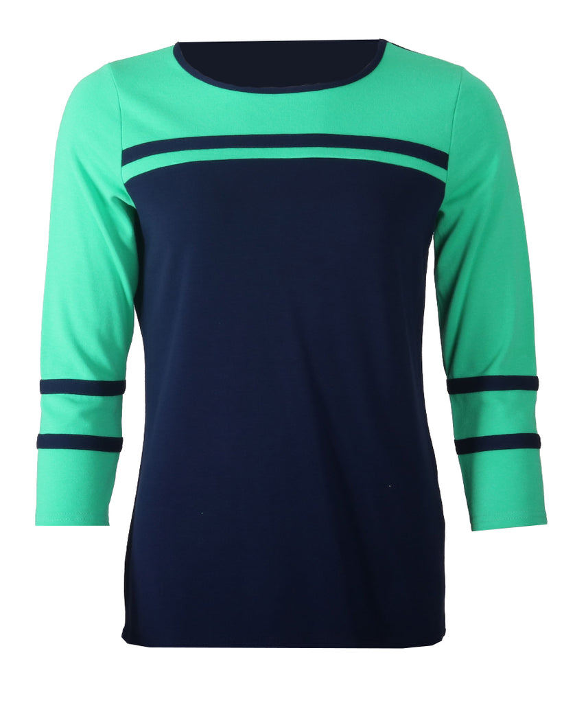 Stripe 3/4 Sleeve Top - Navy/Jade