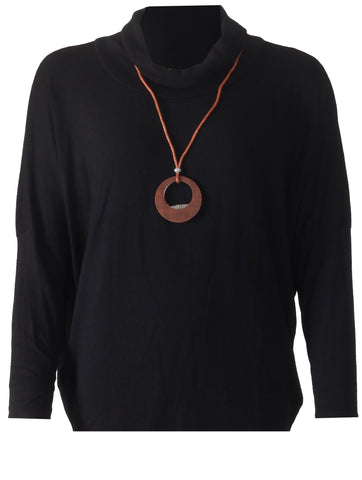 Top with Necklace - Black