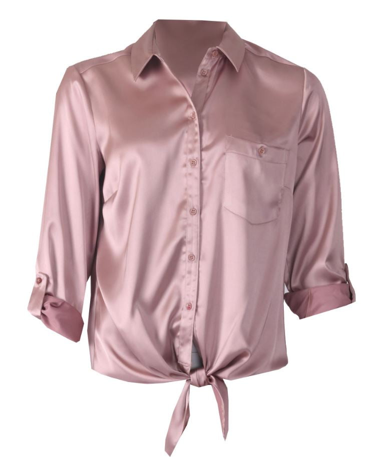 Turn Back Cuff Blouse - Heather Rose