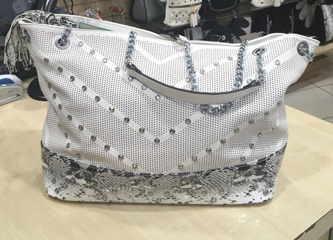 Snakeskin Stud Bag - White