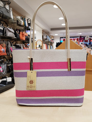 Triple Stripe Tote Bag - Fushcia