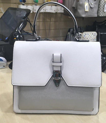 Structured Satchel Bag - White