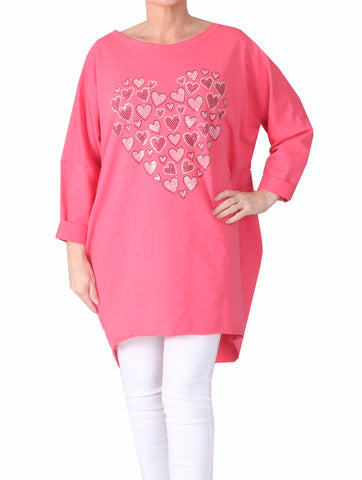 Mini Heart Top - Coral