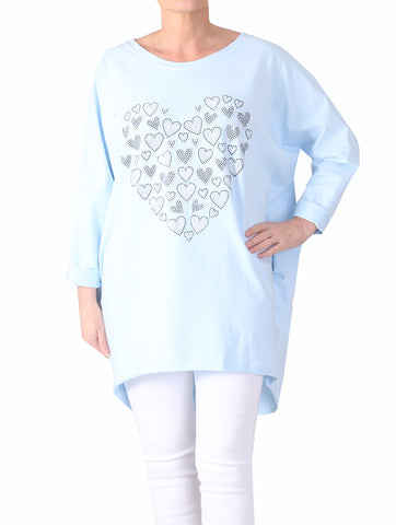 Mini Heart Top - Baby Blue