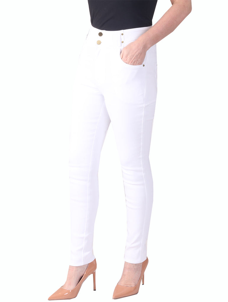 "29"" High Waist Super Stretch Magic Jeans - White"