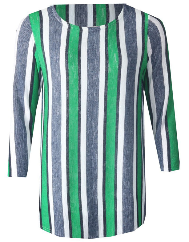 3/4 Sleeve Stripe Top - Jade