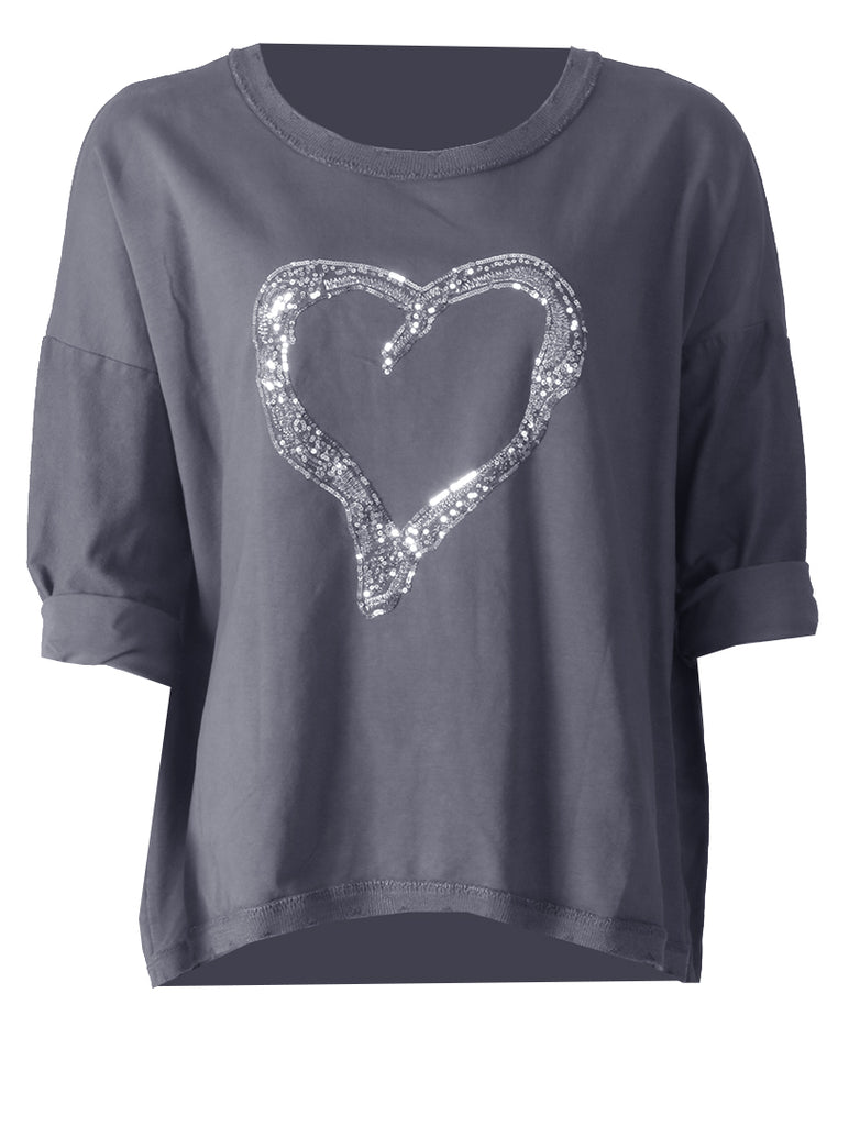 Heart Top - Grey