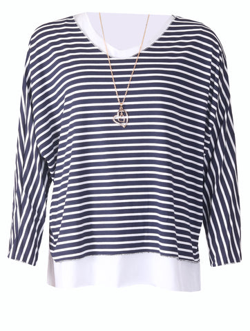 Stripe Top with Necklace - Navy/White