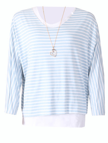 Stripe Top with Necklace - Blue/White