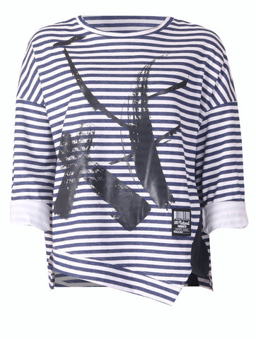 Stripe Paint Top - Navy/White