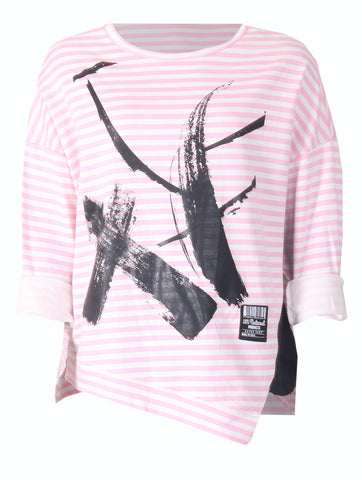 Stripe Paint Top - Pink/White