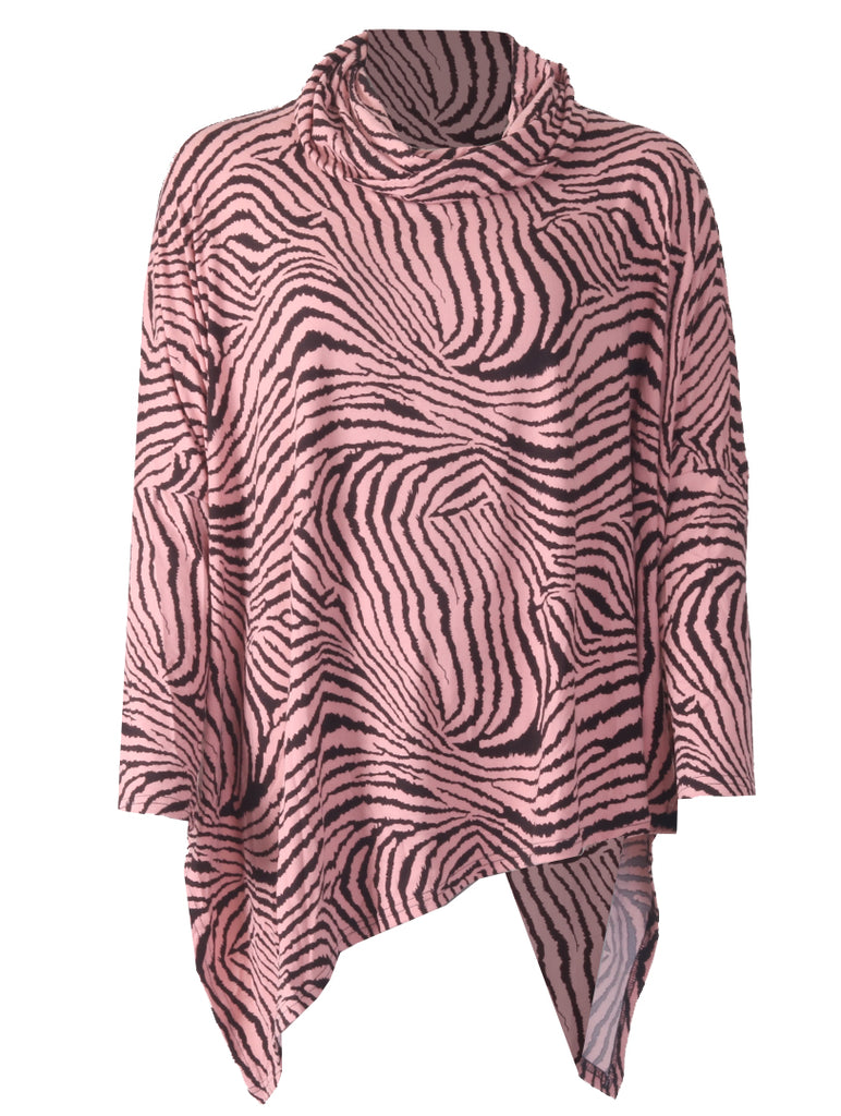 Zebra Cowl Neck - Pink/Black