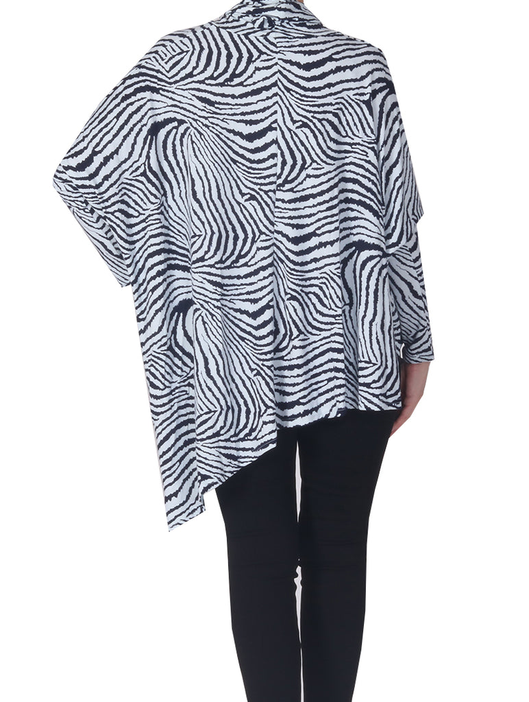 Zebra Cowl Neck - Mint/Navy