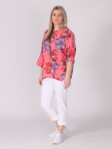 Flower Linen Top with Necklace - Coral