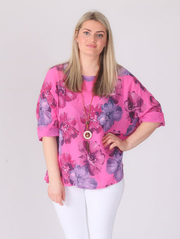 Flower Linen Top with Necklace - Hot Pink