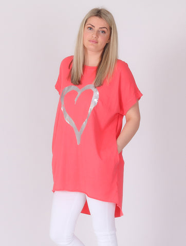 Love Heart Top with Pockets - Coral